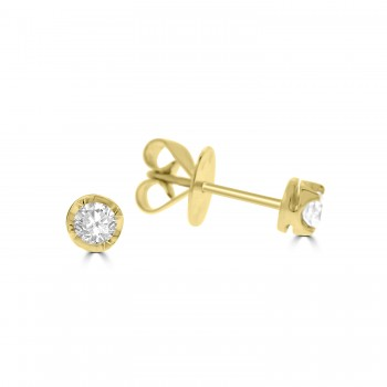 18ct Gold Solitaire .36ct Diamond Stud Earrings