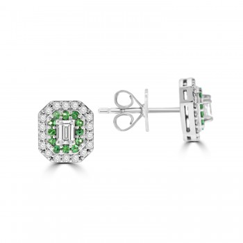 18ct White Gold Emerald and Diamond Art Deco Cluster Earrings