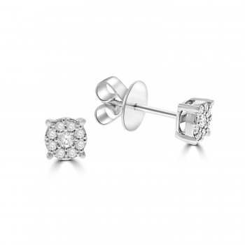 18ct White Gold Solitaire Illusion .23ct Diamond Earrings