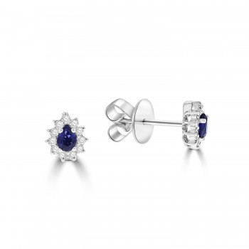 18ct White Gold Pear Sapphire and Diamond Cluster stud Earrings