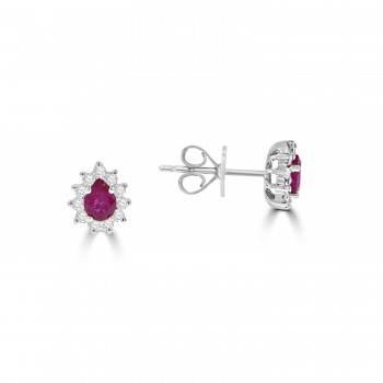 18ct White Gold Pear Ruby and Diamond Stud Earrings