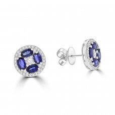 18ct White Gold Sapphire and Diamond Cluster Stud Earrings