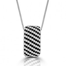 18ct White Gold Black & White Diamond Pendant