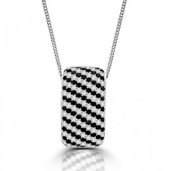 18ct White Gold Black & White Diamond Pendant