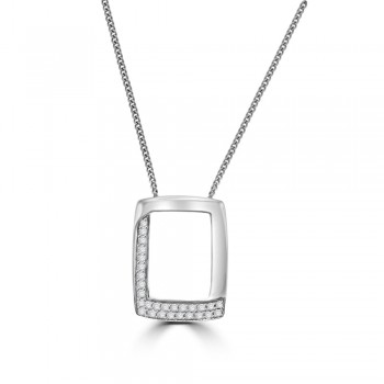 18ct White Gold Oblong Pave Diamond Pendant
