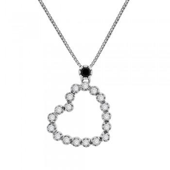 18ct White Gold Black & White Diamond Heart Pendant Chain