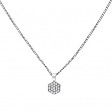 18ct White Gold Pave Diamond Hexagon Pendant