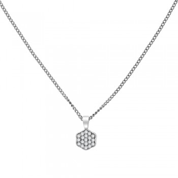 18ct White Gold Pave Diamond Hexagon Pendant