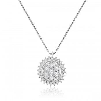 18ct White Gold Daisy Cluster Diamond Pendant Chain