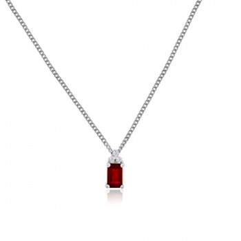 18ct White Gold Ruby & Diamond Trilogy Pendant