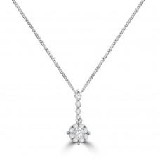 18ct White Gold Diamond Solitaire-Illusion Pendant