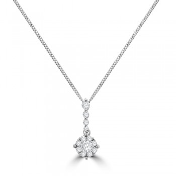 18ct White Gold Diamond Solitaire-Illusion Pendant