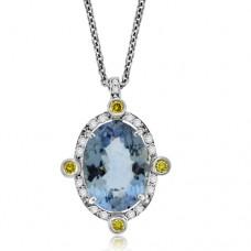 18ct White Gold Aqua & Yellow Diamond Pendant Chain
