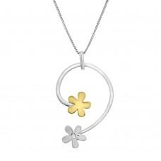 18ct Yellow & White Gold Diamond Flower Pendant