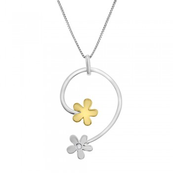 18ct Yellow & White Gold Diamond Flower Pendant