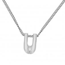 18ct White Gold Diamond U-shaped Pendant