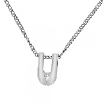 18ct White Gold Diamond U-shaped Pendant