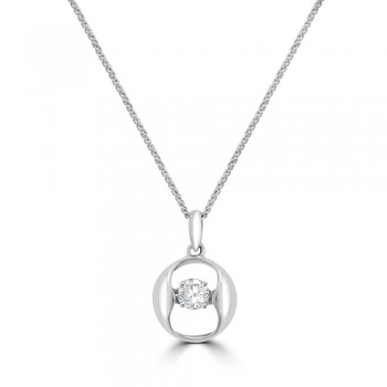 18ct White Gold Diamond Floating Pendant Chain