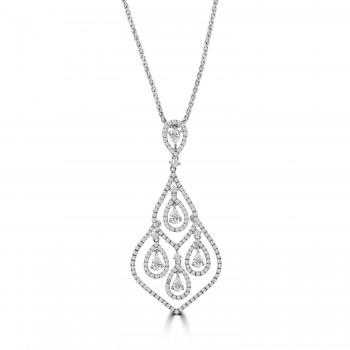 18ct White Gold 4-Pear Dropper Diamond Pendant Chain
