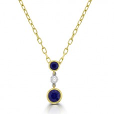 18ct Gold Sapphire & Diamond Dropper Pendant
