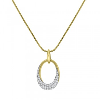 18ct Gold Pave Diamond Open Oval Pendant