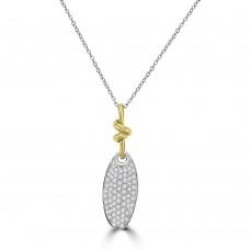 18ct Gold Oval Diamond Disc & Knot Pendant Chain