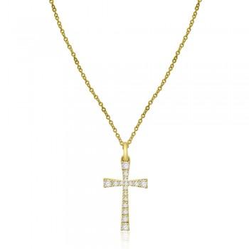 9ct Gold Diamond Cross Pendant Chain