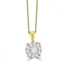 18ct Gold Solitaire Illusion Cluster Diamond Pendant
