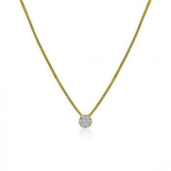 18ct Gold Daisy Diamond Cluster Pendant Chain