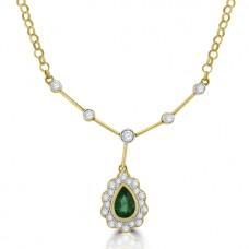 18ct Gold Emerald & Diamond Pendant Collar