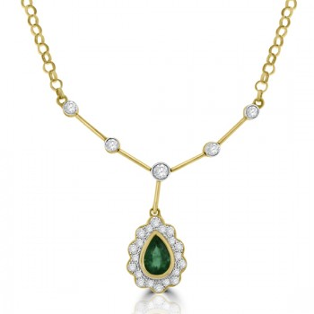 18ct Gold Emerald & Diamond Pendant Collar