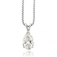 18ct White Gold Solitaire Pear cut Diamond Pendant