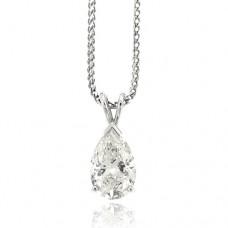 18ct White Gold Solitaire Pear cut Diamond Pendant