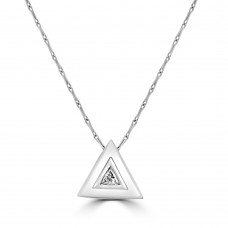 18ct White Gold Trillion Diamond Pendant Chain