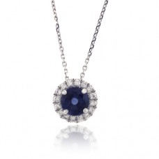 18ct White Gold Sapphire & Diamond Halo Pendant Chain