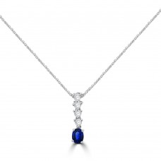 18ct White Gold Sapphire & Diamond Drop Pendant Chain