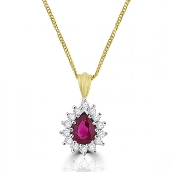 18ct Gold Pear-shaped Ruby & Diamond Cluster Pendant