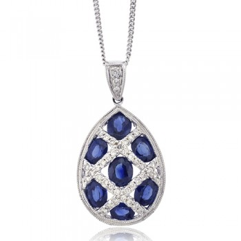 18ct White Gold Sapphire & Diamond Pear shaped Cluster Pendant