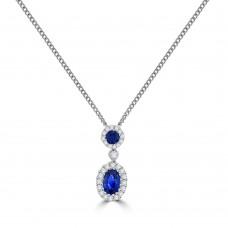 18ct White Gold Sapphire & Diamond Double Halo Pendant