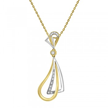 18ct Yellow & White Gold Diamond Kite & Pear Pendant