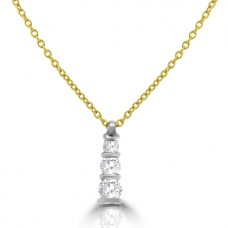 18ct Gold Diamond Trilogy Pendant Chain