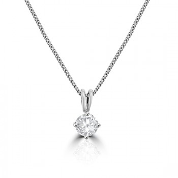 18ct White Gold .62ct Diamond Solitaire Pendant