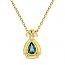 18ct Yellow Gold Pear Aquamarine & Diamond Pendant Chain