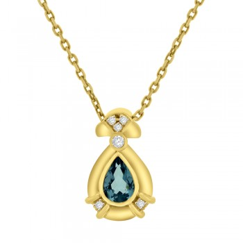 18ct Yellow Gold Pear Aquamarine & Diamond Pendant Chain