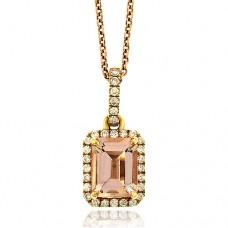 18ct Rose Gold Emerald cut Morganite & Diamond Pendant Chain