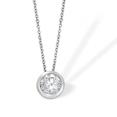 18ct White Gold Solitaire Rubover Diamond Pendant Chain