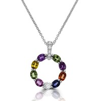 18ct White Gold Multi-coloured Sapphire & Diamond Pendant