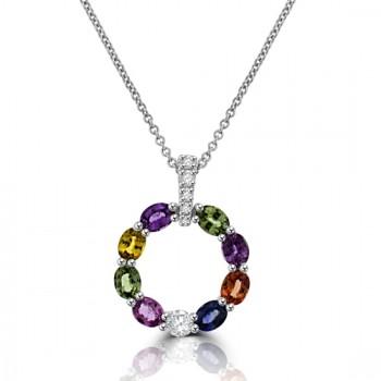 18ct White Gold Multi-coloured Sapphire & Diamond Pendant