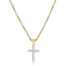 18ct Gold Diamond Cross Pendant