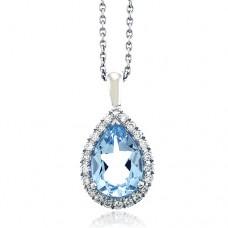 18ct White Gold Blue Topaz & Diamond Drop Pendant Chain